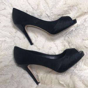 WHBM Black Satin Peep Toe Heel